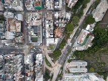 Widok z lotu ptaka nad Kowloon, Podrabiany Shui Po w Hong Kong save w plik-dziennik, zdjęcie stock