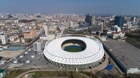 Widok z lotu ptaka nad Olimpijski stadium w Kijów Kyiv biznes i przemysłu miasta krajobraz zdjęcia stock