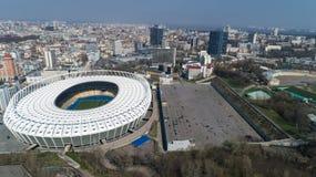 Widok z lotu ptaka nad Olimpijski stadium w Kijów Kyiv biznes i przemysłu miasta krajobraz zdjęcie stock