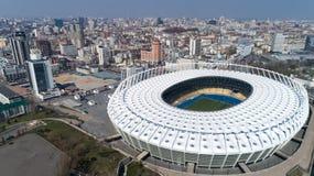 Widok z lotu ptaka nad Olimpijski stadium w Kijów Kyiv biznes i przemysłu miasta krajobraz obraz stock