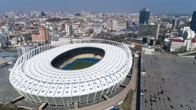 Widok z lotu ptaka nad Olimpijski stadium w Kijów Kyiv biznes i przemysłu miasta krajobraz zdjęcie royalty free