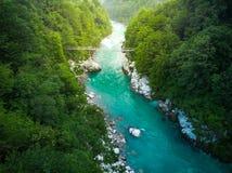 Widok z lotu ptaka nad Soca rzeką w Triglav parku, Slovenia zdjęcia royalty free