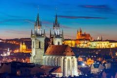 Widok z lotu ptaka nad Starym miasteczkiem, Praga, republika czech Obrazy Royalty Free