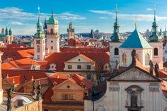 Widok z lotu ptaka nad Starym miasteczkiem w Praga, republika czech Obraz Stock