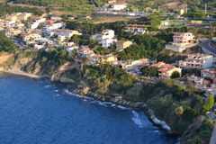 Widok z lotu ptaka nadmorski miasteczko obraz royalty free