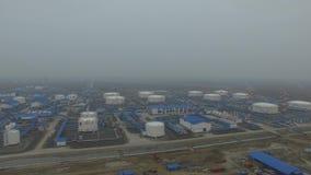 Widok z lotu ptaka nafciana stacja pomp Skroplony gaz naturalny wioska arktyki, Rosja zbiory wideo