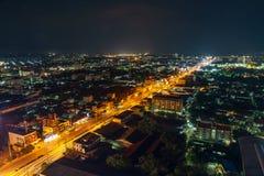 Widok z lotu ptaka Nakhon Ratchasima miasto lub Korat przy nocą, Thailan Fotografia Royalty Free