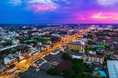 Widok z lotu ptaka Nakhon Ratchasima miasto lub Korat przy zmierzchem, Thaila Obrazy Royalty Free