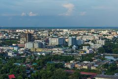 Widok z lotu ptaka Nakhon Ratchasima miasto lub Korat, Tajlandia Fotografia Stock