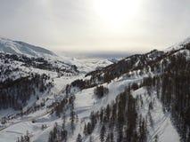 Widok z lotu ptaka narciarscy skłony w Finlandia Obraz Stock