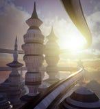 Widok z lotu ptaka nauki fikci miasto z chmurami i słońcem Obraz Royalty Free