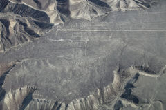 Widok z lotu ptaka Nazca Wykłada - Hummingbird geoglyph, Peru Zdjęcie Stock