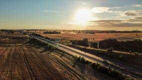 Widok z lotu ptaka niemiecki autobahn, otaczający pola i łąki obrazy royalty free