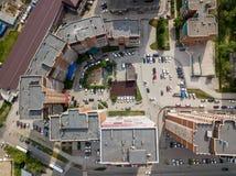 Widok z lotu ptaka nowi budynki w półkole kształcie zdjęcie stock