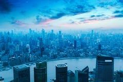 Widok z lotu ptaka nowożytny miasto w Shanghai Zdjęcie Stock