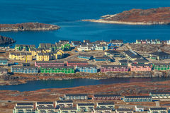 Widok z lotu ptaka Nuuk miasto i fjord, Greenland Fotografia Stock