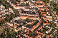 Widok z lotu ptaka Nysa miasteczko w Polska Fotografia Stock
