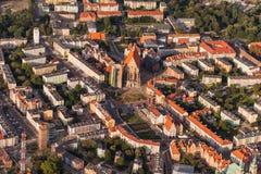 Widok z lotu ptaka Nysa miasteczko w Polska Obraz Stock