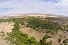Widok z lotu ptaka - oaza blisko Viana pustyni, Boavista - przylądek Verde Obrazy Stock