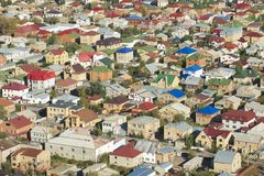 Widok z lotu ptaka obszar zamieszkały Astana miasto, Kazachstan Zdjęcia Stock