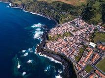 Widok z lotu ptaka ocean kipiel na San Miguel wyspy rafach sunie, Azores fotografia royalty free