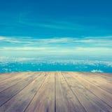 Widok z lotu ptaka od drewnianej platformy Fotografia Royalty Free