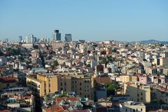 Widok z lotu ptaka od Galata wierza w Istanbuł Obrazy Stock