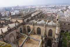 Widok z lotu ptaka od Giralda Seville katedra, Hiszpania fotografia royalty free