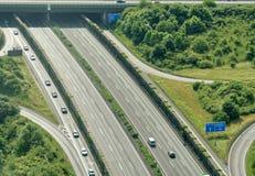 Widok z lotu ptaka od małego samolotu na A2 autostradzie w północy miasto Braunschweig obrazy stock