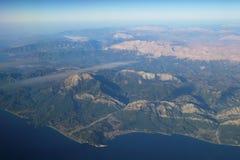 Widok z lotu ptaka od samolotu zdjęcia stock