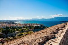 Widok z lotu ptaka od starego fortecy z antykwarskimi dachami, Corfu miasto Panorama centrum stary miasto Kerkira Europa podróż obraz royalty free