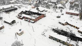Widok z lotu ptaka ogień niszczył fabrykę, zima czas Solankowa robi fabryka w Drohobych, Ukraina Truteń fotografia zdjęcie royalty free