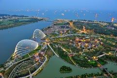Widok z lotu ptaka Ogródy Podpalany Singapur zdjęcie royalty free