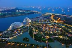 Widok z lotu ptaka Ogródy Zatoką w Singapur Obrazy Royalty Free