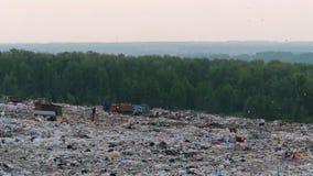 Widok z lotu ptaka ogromnego miasta śmieciarski usyp przy zmierzchem Śmieciarska ciężarówka rozładowywa grat zdjęcie wideo