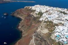 Widok z lotu ptaka Oia w Santorini wyspie, Grecja Obrazy Stock
