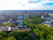 Widok z lotu ptaka oldtown w Gdańskim Obrazy Royalty Free