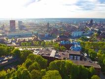 Widok z lotu ptaka oldtown w Gdańskim Obrazy Stock