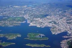 Widok z lotu ptaka Oslo teren w Norwegia Fotografia Stock