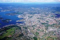 Widok z lotu ptaka Oslo teren w Norwegia Fotografia Royalty Free