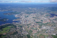 Widok z lotu ptaka Oslo teren w Norwegia Zdjęcia Stock