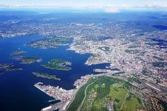 Widok z lotu ptaka Oslo teren w Norwegia Zdjęcie Stock
