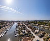 Widok z lotu ptaka ostryga port los angeles Teste, Bassin d «Arcachon, Francja obraz stock