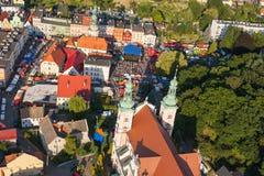 Widok z lotu ptaka Otmuchow miasteczko Obrazy Stock