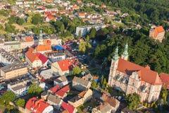 Widok z lotu ptaka Otmuchow miasteczko Zdjęcie Stock