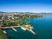 Widok z lotu ptaka Ouchy nabrzeże w Lausanne, Szwajcaria Obrazy Stock