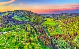 Widok z lotu ptaka Północne Vosges góry przy zmierzchem, Francja Obrazy Stock