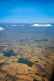 Widok z lotu ptaka płaskie równiny i gospodarstwa rolne w usa zdjęcia stock