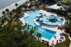 Widok z lotu ptaka pływackiego basenu park. Obraz Royalty Free