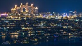 Widok z lotu ptaka Palmowy Jumeirah wyspy nocy timelapse zbiory wideo